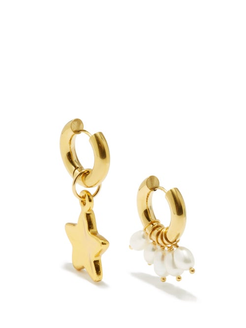 Timeless Pearly - Mismatched Pearl & 24kt Gold-plated Hoop Earrings - Womens - Pearl