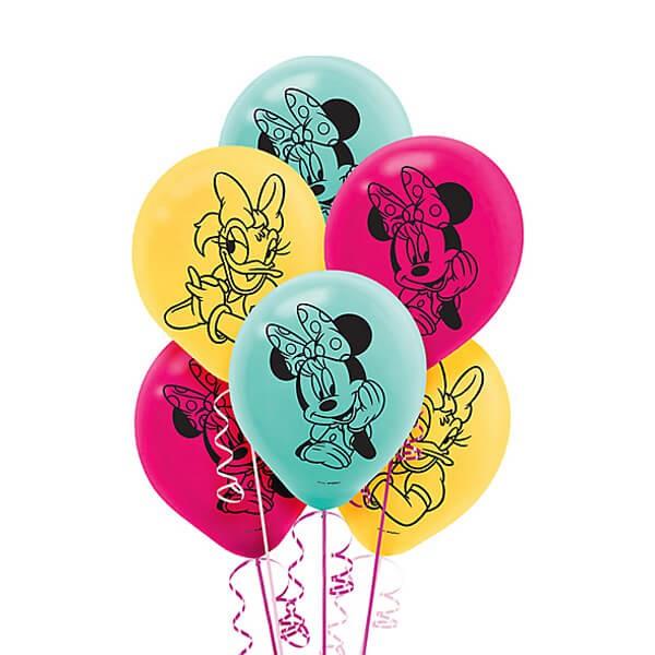 派對城 現貨 【12吋乳膠氣球6入-米妮快樂幫手】 歐美派對 生日氣球 乳膠氣球 迪士尼氣球 米妮 派對佈置 拍攝道具