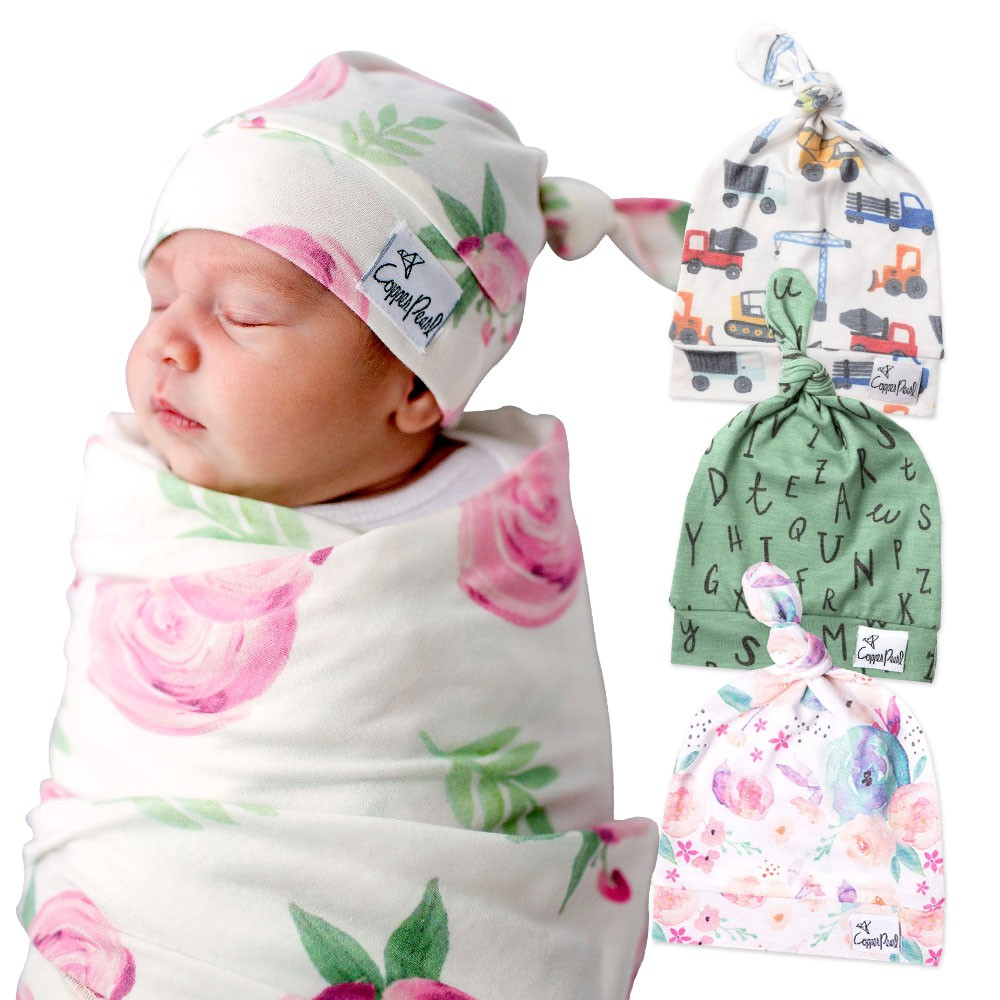 【美國Copper Pearl】輕柔扭結嬰兒帽 嬰兒帽 新生兒胎帽 套頭帽(LAVIDA官方直營)