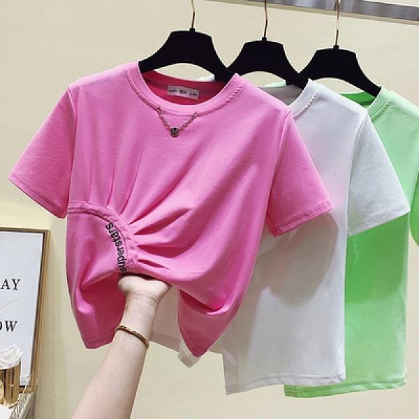 短T 夏裝新款開叉T恤女短袖設計感不規則上衣洋氣修身收腰小衫潮FFA039依佳衣