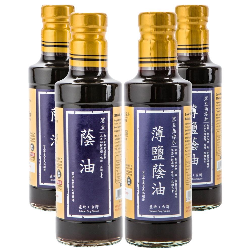 在地純釀造-黑豆蔭油300ml 2入+黑豆無添加薄鹽蔭油300ml 2入