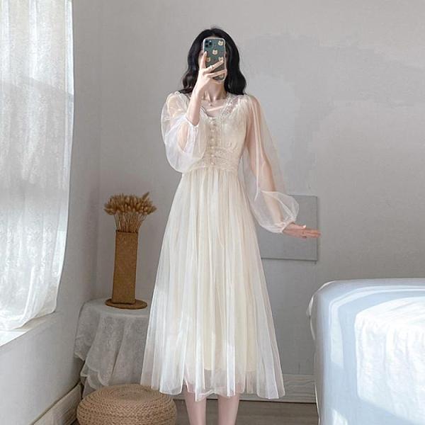 仙女裙長款超仙初念裙子女夏季氣質白色禮服網紗連身裙2021新款春 嬡孕哺