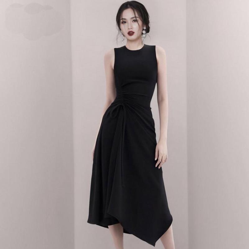 圓領無袖歐美氣質洋裝不規則顯瘦連衣裙