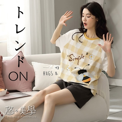悠美學-日系精梳棉居家甜美圓領造型套裝-白色(M-2XL)