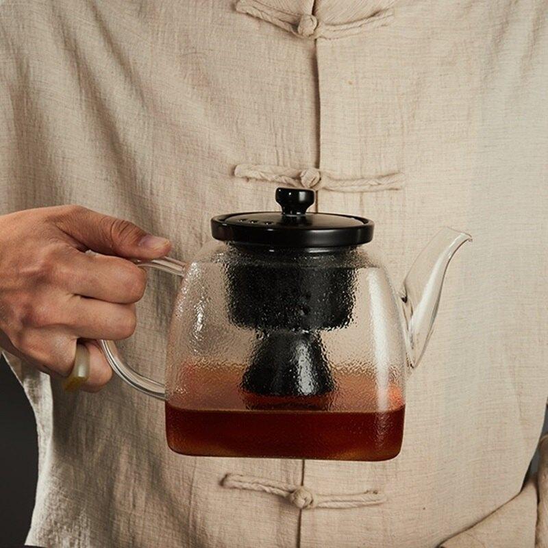 水壺玻璃茶壺-方型蒸煮雙內膽耐熱煮茶器2色74aj20【獨家進口】【米蘭精品】