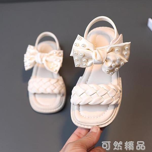 新款夏季小女孩繡花公主鞋珍珠女童涼鞋兒童蝴蝶結軟底沙灘鞋 可然精品