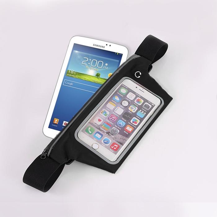 活力揚邑》防水防竊可觸控彈性反光手機平板腰包腰帶黑色-7.3吋以下通用