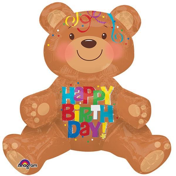 派對城 現貨 【43x48cm立體鋁箔氣球(不含氣)-生日小熊】 歐美派對 生日氣球 鋁箔氣球  派對佈置 拍攝道具