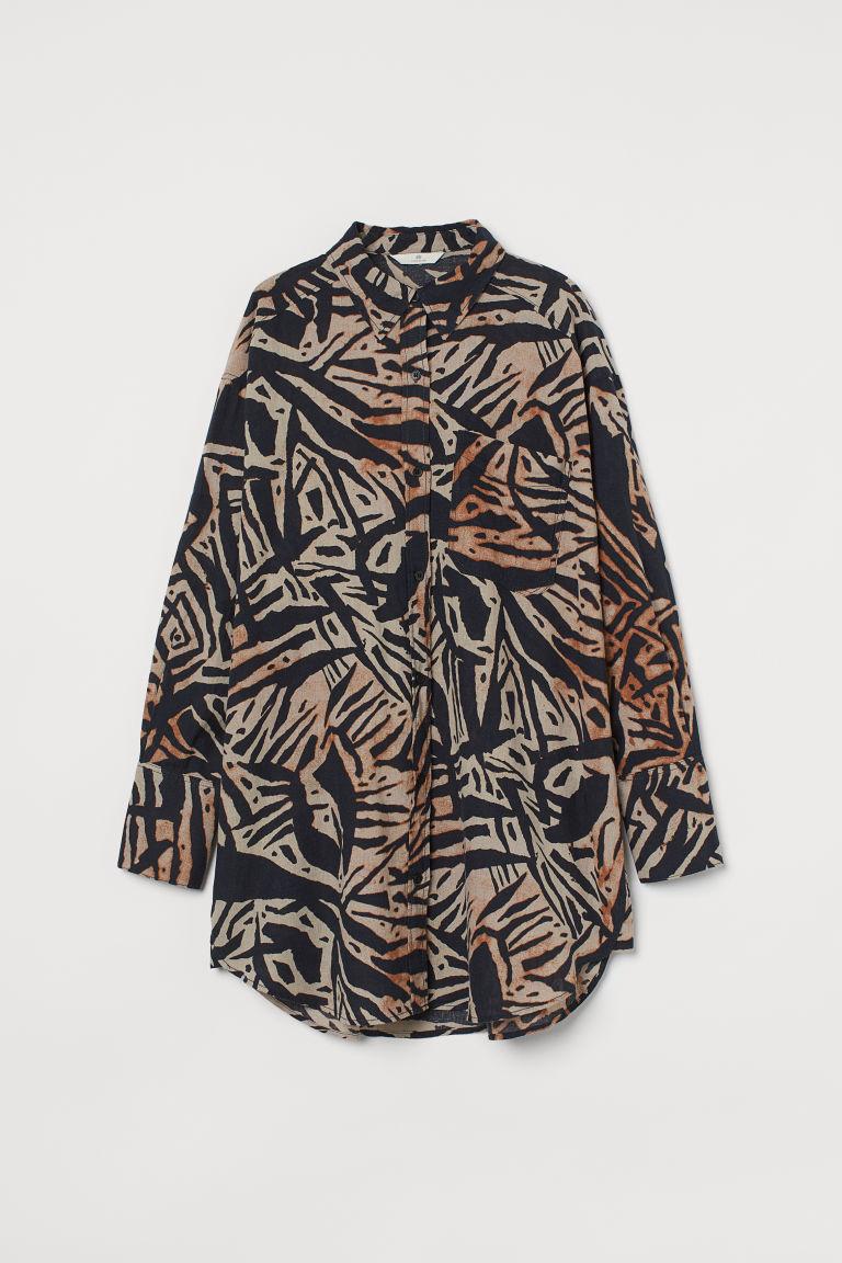 H & M - 加大碼亞麻混紡襯衫 - 米黃色