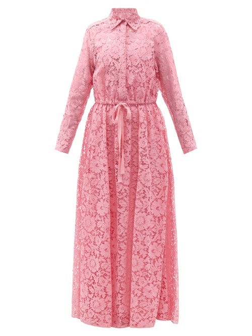 Valentino - Drawstring-waist Floral-lace Shirt Gown - Womens - Pink
