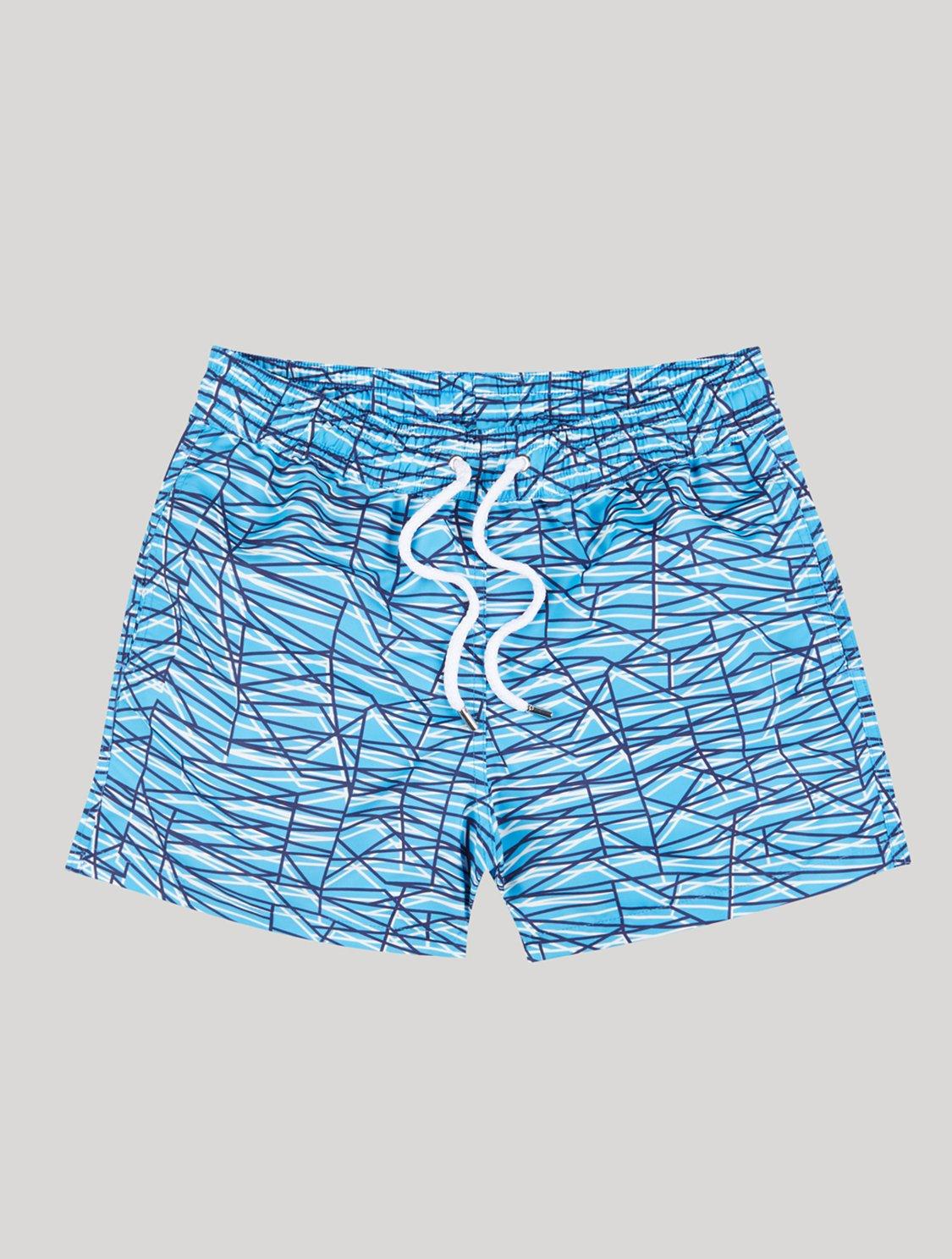 Sport Swim Shorts Rocha Print Blue Lagoon L
