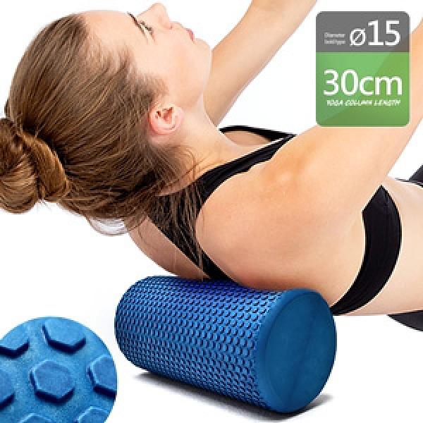 實心30CM按摩瑜珈柱(直徑15CM)浮點泡沫軸瑜珈棒.EVA瑜珈滾輪滾筒滾棒.瑜伽按摩滾輪棒.肌肉