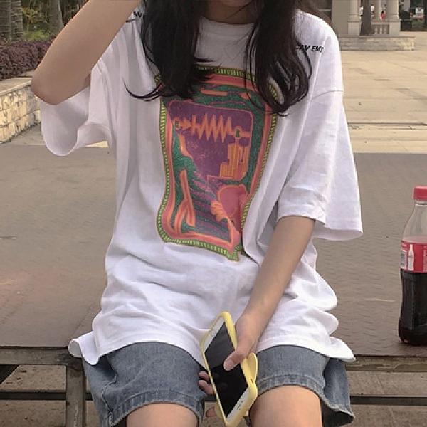 短T 圓領 短袖T恤3809#圖案印花短袖T恤H500韓衣裳