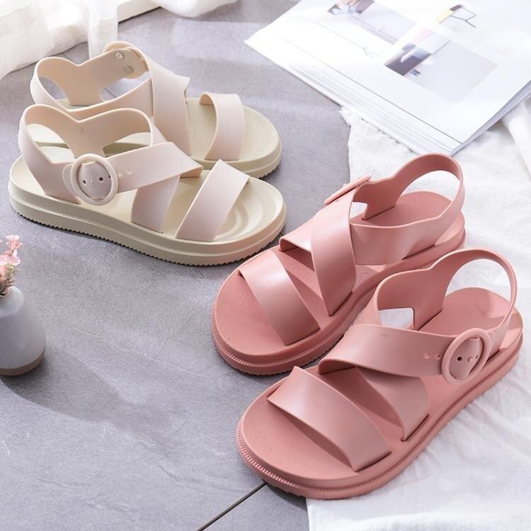 涼鞋 平底涼鞋女塑料厚底防滑防水雨鞋塑膠鞋軟底果凍鞋韓版學生沙灘鞋 618特惠