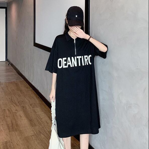 洋裝 休閒裙 長版衣 中大尺碼M-4XL新款POLO領字母印花寬鬆顯瘦長款T連身裙4F049B-9085.胖胖美依