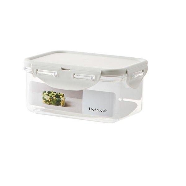 樂扣樂扣純淨保鮮盒長方型600ml淺灰密封盒保存盒LBF811-01-大廚師百貨