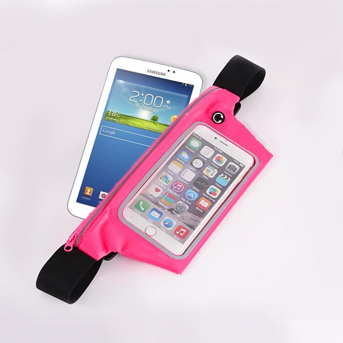 活力揚邑》防水防竊可觸控彈性反光手機平板腰包腰帶粉色-7.3吋以下通用