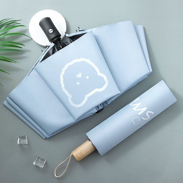黑膠遮陽傘卡通小熊太陽傘ins女防曬防紫外線三折疊晴雨兩用