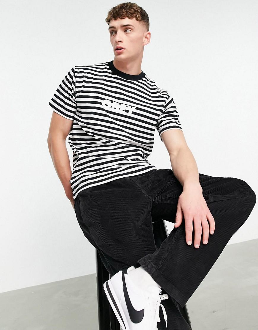 Obey joy striped t-shirt in black/white