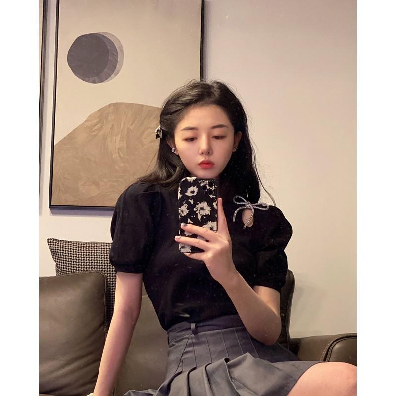 夏季新款韓版設計感小眾蝴蝶結白色上衣寬鬆圓領短袖t恤女潮