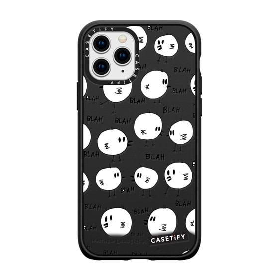 CASETiFY iPhone 11 Pro Casetify Black Impact Resistance Case - Blah birds by Matthew Langille