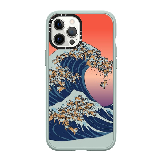 CASETiFY iPhone 12 Pro Max Casetify Black Impact Resistance Case - The Great Wave of Shiba Inu