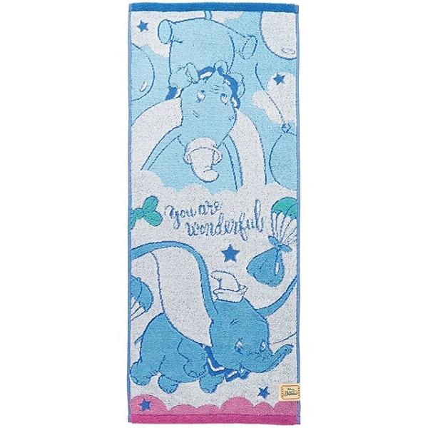 小禮堂 迪士尼 小飛象 純棉無捻紗長毛巾 抗菌毛巾 純棉毛巾 長巾 34x80cm (藍 汽球) 4992272-73266