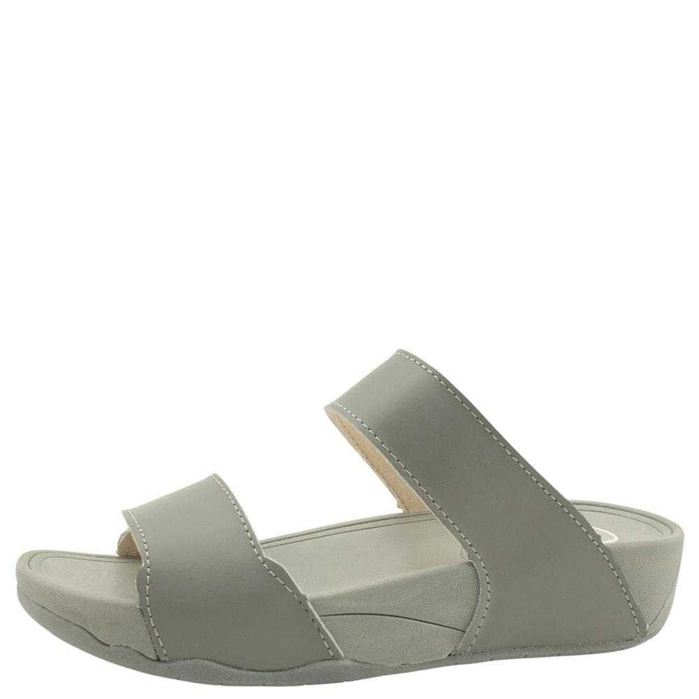 韓國空運 - Cowhide Cushion Whole Heel Slippers 4cm Gray 涼鞋