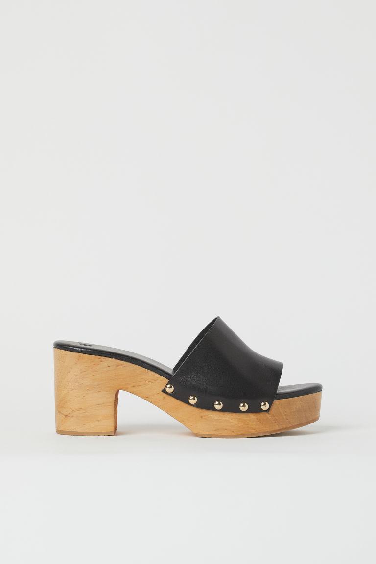 H & M - 木跟懶人拖鞋 - 黑色