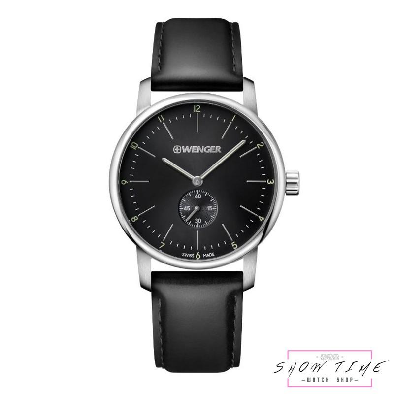 WENGER 瑞士威格 俐落美學紳士小秒針腕錶-皮革/黑面銀 01.1741.102 [ 秀時堂 ]