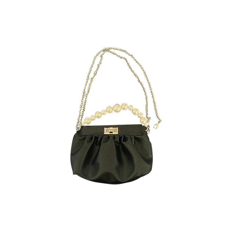 珍珠鏈條云朵小包包女 17D012春夏新款軟皮褶皺小香風單肩斜挎腋下包