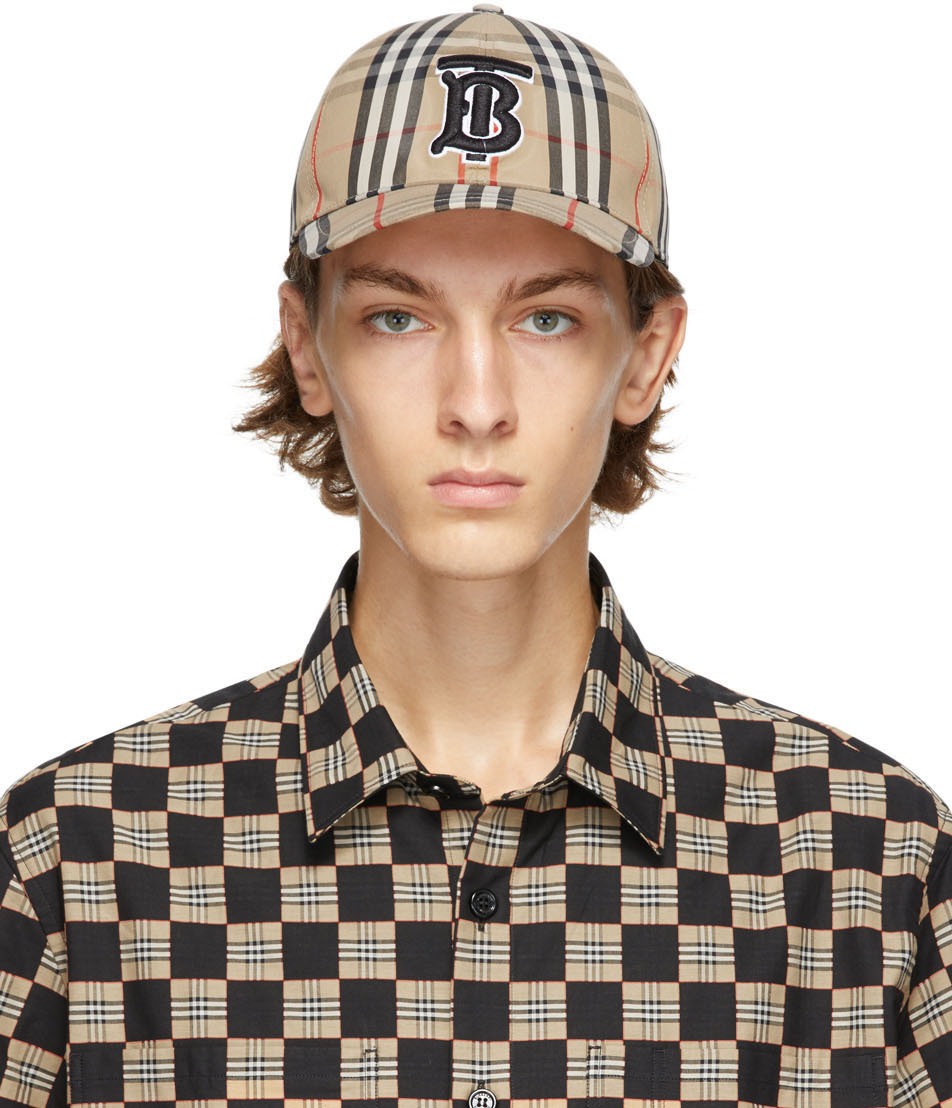 Burberry 驼色 Vintage Check TB 棒球帽
