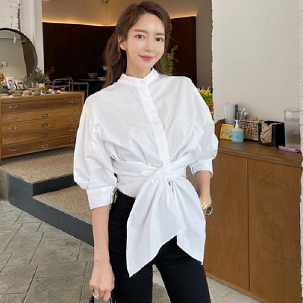 收腰時尚襯衫0188#夏裝韓版設計感休閑氣質中袖系帶上衣NE49紅粉佳人