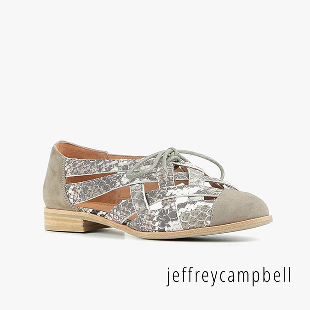 【Jeffrey Campbell】Canela 壓紋編織平底鞋(豆沙色)