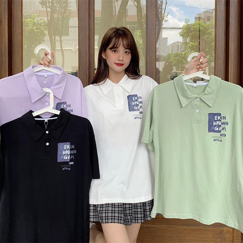 學院風短袖t恤 中長款襯衫短袖T恤 學生寬鬆鹽系少女polo衫翻領上衣