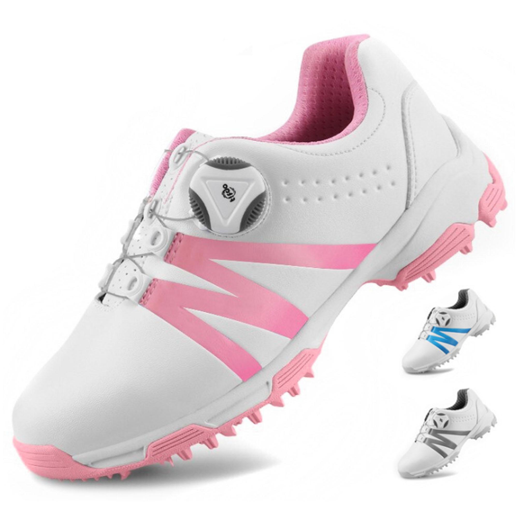 高爾夫女士球鞋 防水防滑運動鞋 鞋子百搭時尚球鞋  GSH128 白 藍 配POSMA鞋包 2合1清潔刷   高爾夫球毛巾