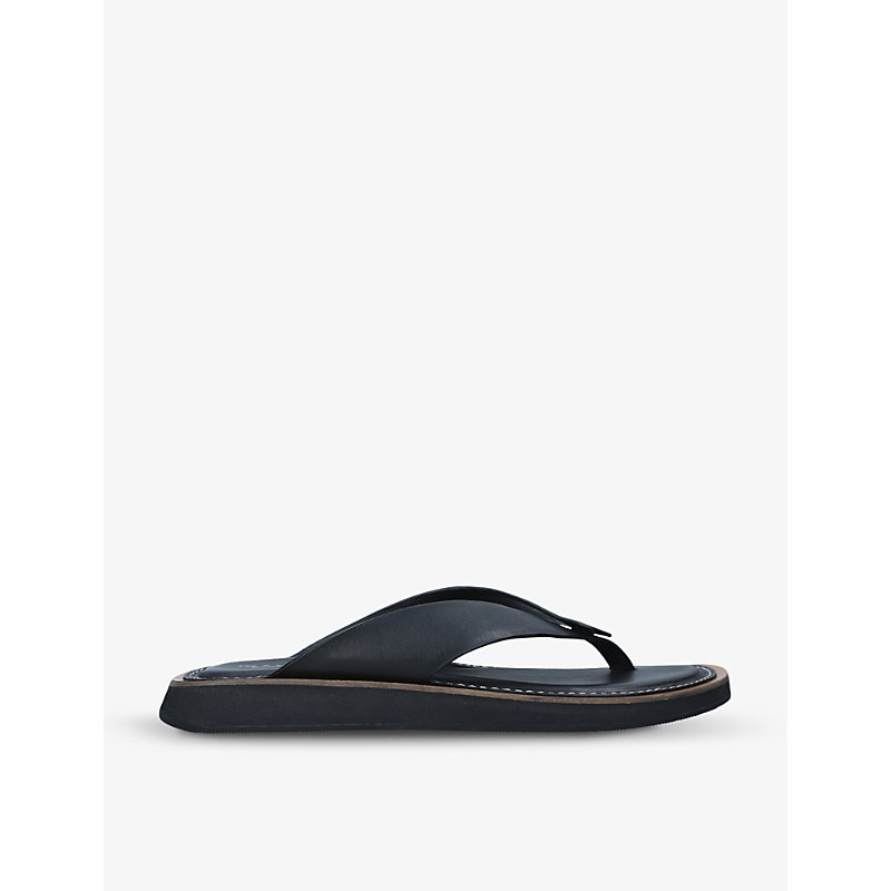 Parker cushioned leather flip-flops