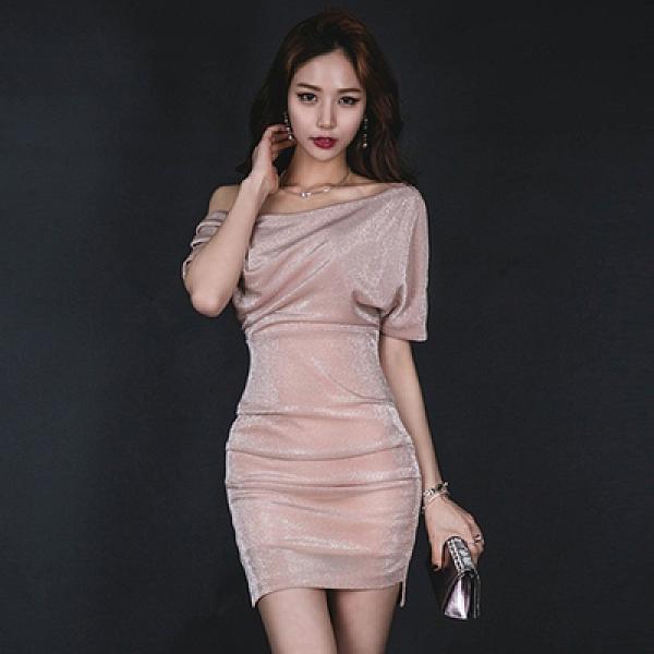 OL洋裝S-XL9946#名媛亮絲斜肩一字斜領露肩褶皺包臀修身性感氣質連身裙H538紅粉佳人