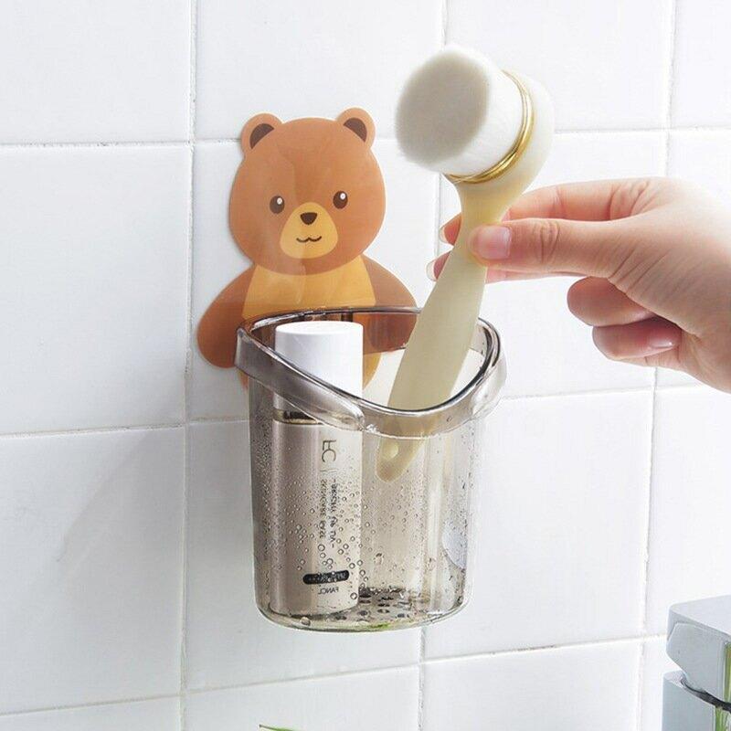 卡通小熊免打孔壁掛收納杯牙膏收納盒浴室衛生間牙刷架牙具收納架