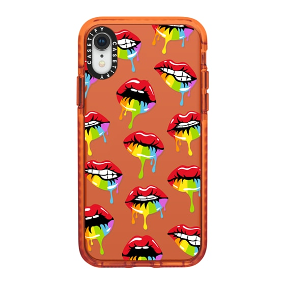 CASETiFY iPhone XR Impact Case - RAINBOW DRIPPING LIPS