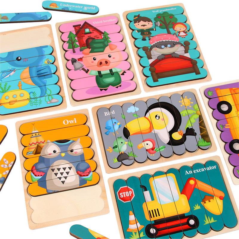 木製 創意 條形拼圖 / 雙面 交通 動物 故事 益智拼板 / 木質 拼圖玩具 【國王皇后】