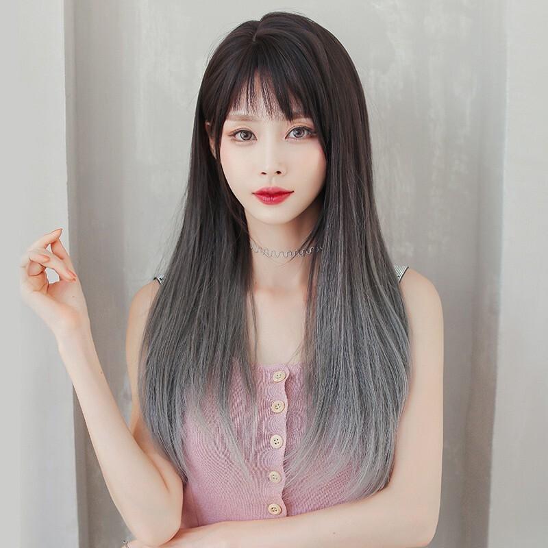 假髮女長髮斜瀏海側分時尚漸變灰色長直髮全頭套式假髮套xg