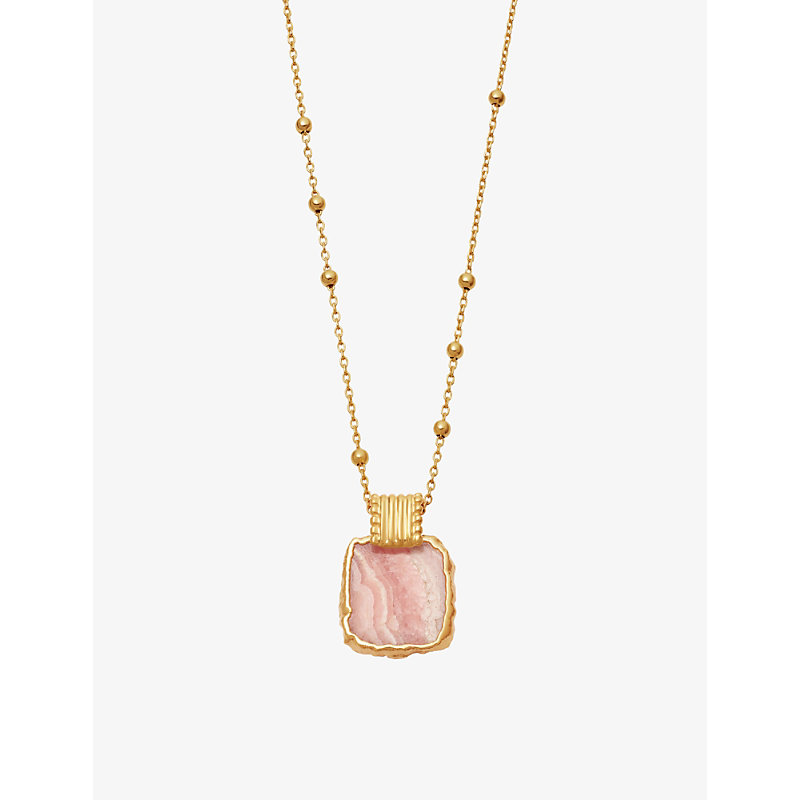 Lena 18ct yellow gold vermeil sterling silver and amazonite stone pendant necklace