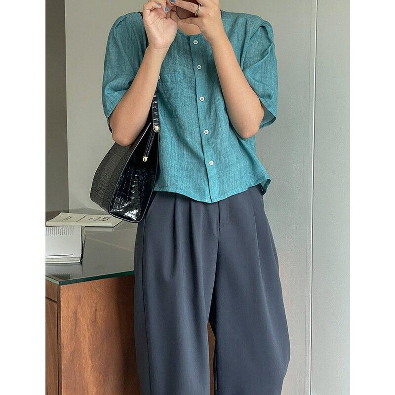 2021年夏季新款韓國chi復古雙口袋單排扣休閒上衣襯衣女裝