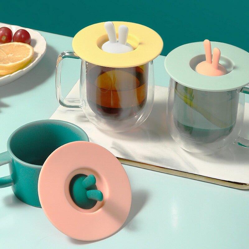 兔耳朵硅膠杯創意防漏防塵杯蓋家用密封碗蓋多用途密封蓋