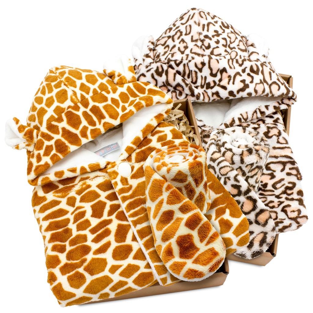 hipopipo小西波【彌月首選】動物造型斗篷禮盒A款-寶寶斗篷+圍巾-森林派對系列(花色:長頸鹿,花豹)