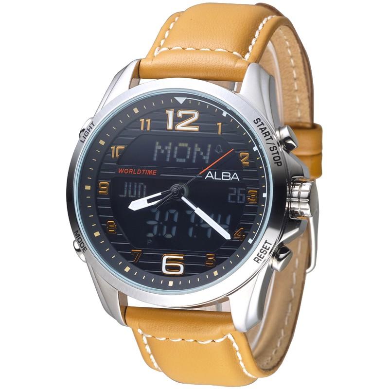 【ALBA雅柏】手錶 AZ4013X1 飛鷹戰士多功能數位雙顯男錶-黑_保固二年,超值搶購