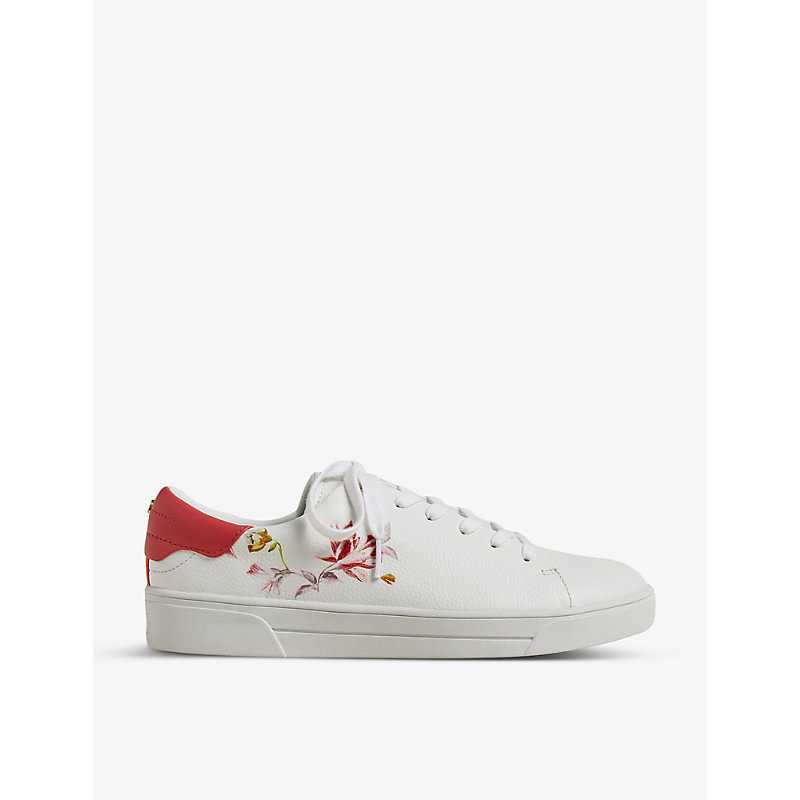 Rhubarb floral-print leather trainers