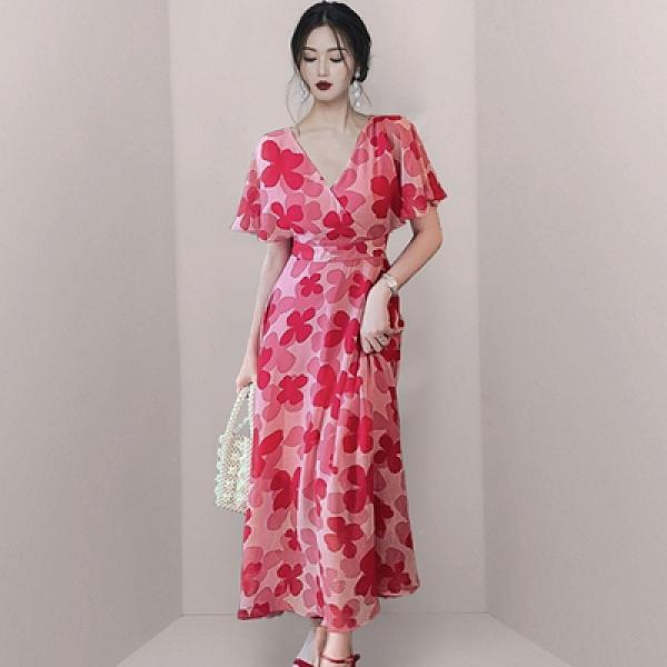 OL洋裝S-XL406 夏裝新款名媛女修身顯瘦碎花系帶紅色高腰雪紡連身裙長裙H515紅粉佳人