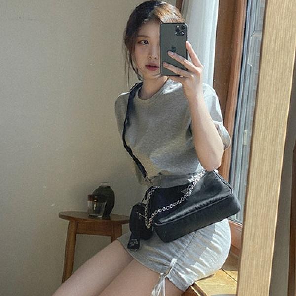 洋裝包臀裙韓國東大門夏季衛衣圓領短袖小眾款抽繩設計高腰包臀假兩件連身裙H503紅粉佳人